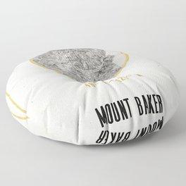 Mount Baker Washington Location Map Print Floor Pillow