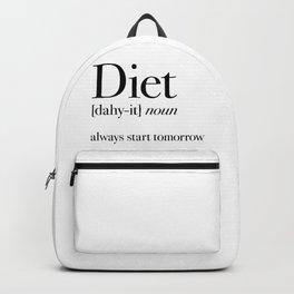 Diet always start tomorrow Backpack