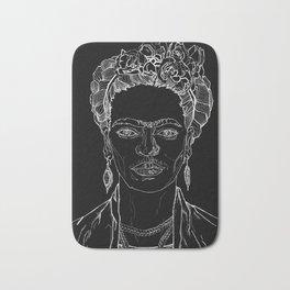 Geometric Black and White Drawing Frida Kahlo Bath Mat