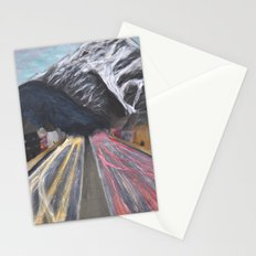 Snowy Mountain and Busy Streets Stationery Cards