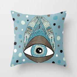 pysanky eye egg, blue green brown white black Throw Pillow