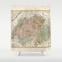 Helvetia Tredecim Statibus Liberis (Switzerland Map 1751) Shower Curtain