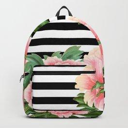 Pink Peonies Black Stripes Backpack