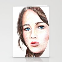 katniss Stationery Cards featuring Katniss. by Annie Mae Herring