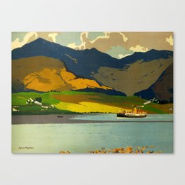 Loch Awe Vintage Mid Century Art Travel Poster British Railways Colorful Landscape Canvas Print