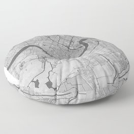New Orleans Pencil City Map Floor Pillow