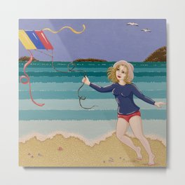 Seaside Kite Flight Metal Print