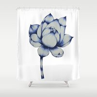 lotus flower Shower Curtains featuring Lotus by Lily Sayang