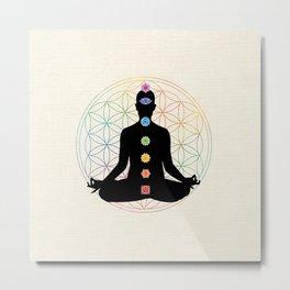 Sacred Geometry Flower of Life Chakra Meditation Metal Print