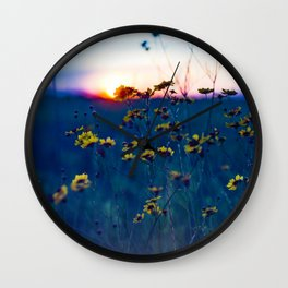 Wildflower Sunset Wall Clock