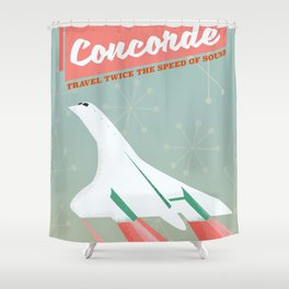 Concorde vintage travel poser Shower Curtain