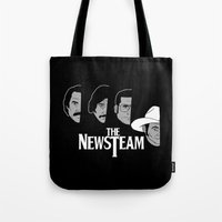 will ferrell Tote Bags featuring The Newsteam by Buby87