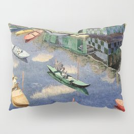 The Romantic Beauty of a Paris Summer on the River Seine landscape painting by Norman Lloyd Pillow Sham