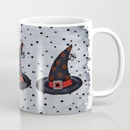 Black Witch Hat Silver Buckle Black Stars Cute Dangling Spider Coffee Mug