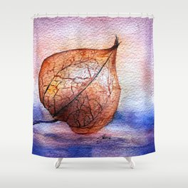 Watercolor Physalis in Light Shower Curtain