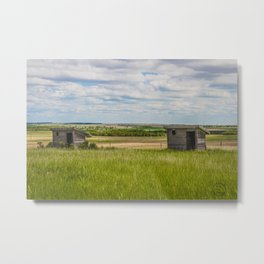 Outhouses at Christiania Township School, North Dakota 1 Metal Print
