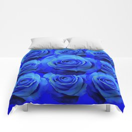 AWESOME BLUE ROSE GARDEN  PATTERN ART DESIGN Comforters
