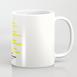 Mid Century Modern Minimalist Circle Photo Yellow Staggered Stripe Pattern Coffee Mug
