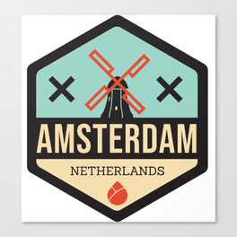 Amsterdam Windmill Badge XXX Canvas Print