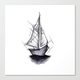 Sailboat Handmade Drawing, Art Sketch, Barca a Vela, Illustration Canvas Print