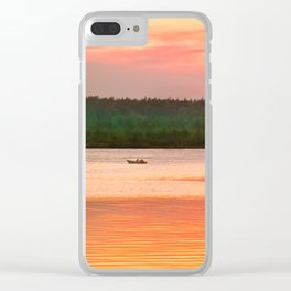 Summer sunset on Wild lake Clear iPhone Case
