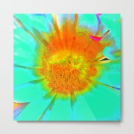 Pumpkin Mint Aqua Flower Metal Print