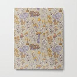 Wild Mushrooms in Purple Metal Print
