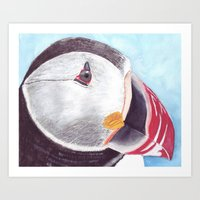 puffin Art Prints featuring Puffin by Art by Frydendal