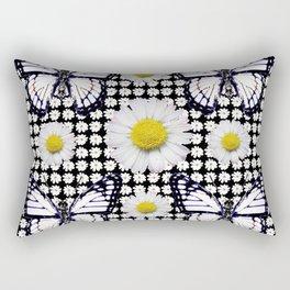 BLACK-WHITE DAISIES & MONARCH BUTTERFLIES ART Rectangular Pillow
