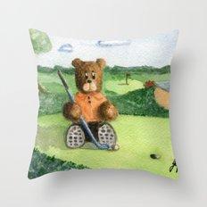 Golfer Bear Throw Pillow
