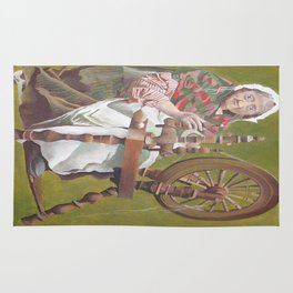 Old Irish Woman Sitting At A Spinning Wheel Rug