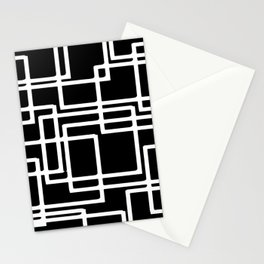 Interlocking White Squares Artistic Design Stationery Cards