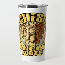 Chess Checkmate Strategy Board Game Chessboard Pieces Rules Play Gift Travel Mug
