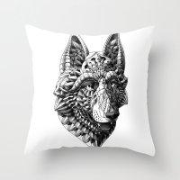 german Throw Pillows featuring German Shepherd by BIOWORKZ