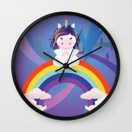 Unicorn yoga meditation on the rainbow Wall Clock
