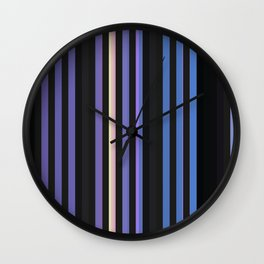 Stripes of black, blue, and purple Wall Clock