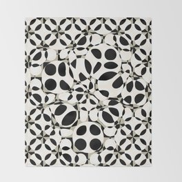 black and white circles in squares Throw Blanket