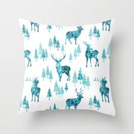 Ice Forest Deer Throw Pillow