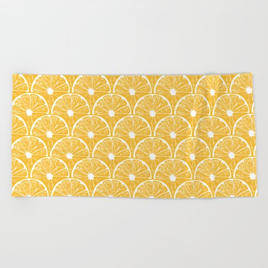 Orange slices, tropical fruit pattern design Beach Towel