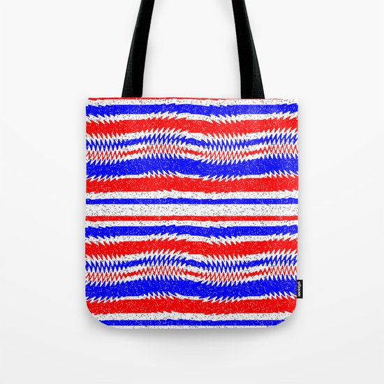 Red White Blue Waving Lines Tote Bag