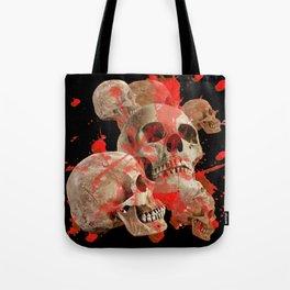 MACABRE BLOOD & SKULLS BLACK  ART Tote Bag
