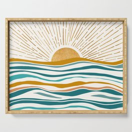 The Sun and The Sea - Gold and Teal Serving Tray