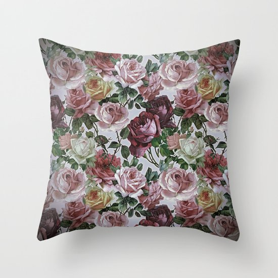 Shabby Chic Floral Throw Pillows : Vintage & Shabby-chic - retro floral roses pattern Throw Pillow by Vintage & Love Society6