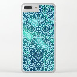 Pattern on greenish blue marble Clear iPhone Case