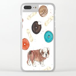 Bulldogs and donuts Clear iPhone Case