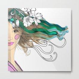 Mujer con flores Metal Print