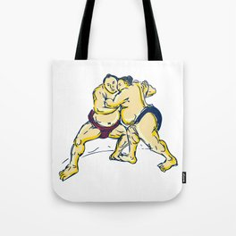 Japanese Sumo Wrestler Wrestling Drawing Tote Bag