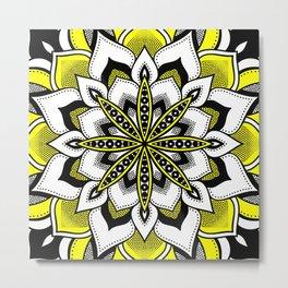 Mandala : Yellow Flower Mandala Bold Metal Print