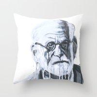 freud Throw Pillows featuring Sigmund Freud by Sobottastudies