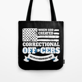 Christian Correctional Officer American Flag Tote Bag